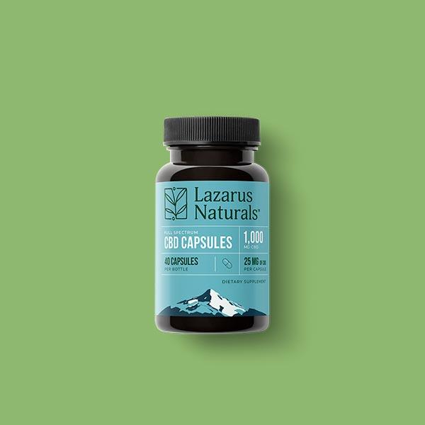 Lazarus Naturals full spectrum 25mg CBD capsules 40 count