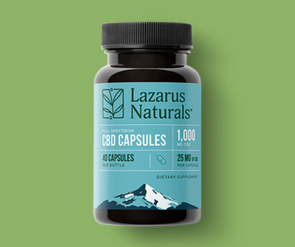 Lazarus Naturals full spectrum 25mg CBD capsules 40 count