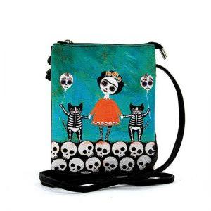 Orange Dress Skeleton Girl Crossbody Bag